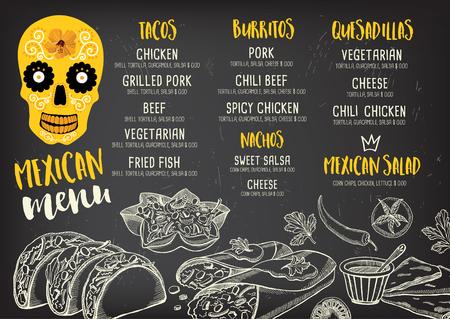 Restaurante de comida mexicana menú mantel, diseño de plantilla de menú. cena folleto creativo de la vendimia con el gráfico dibujado a mano. Vector menú de comida volante. Foto de archivo - 59488685