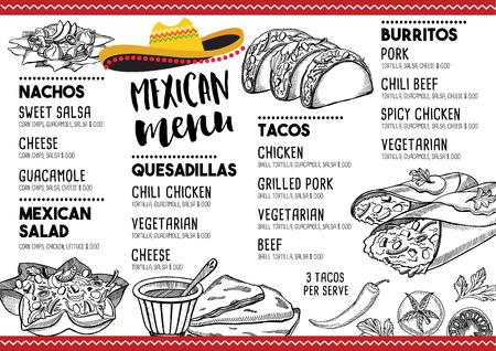 enchilada: Mexican menu placemat food restaurant, menu template design. Vintage creative dinner brochure with hand-drawn graphic. Vector food menu flyer.