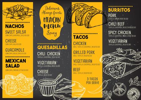 Mexicaanse menu placemat food restaurant, menu template design. Vintage creatieve diner brochure met de hand getekende afbeelding. Vector menu eten flyer.