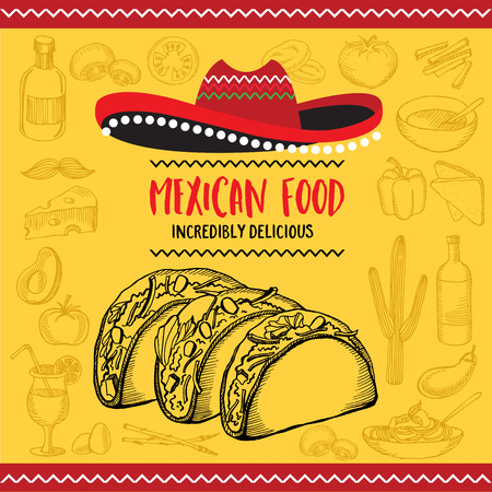drink food: Mexican menu placemat food restaurant, menu template design. Vintage creative dinner brochure with hand-drawn graphic. Vector food menu flyer.