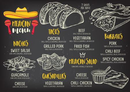 Restaurante de comida mexicana menú mantel, diseño de plantilla de menú. cena folleto creativo de la vendimia con el gráfico dibujado a mano. Vector menú de comida volante. Ilustración de vector