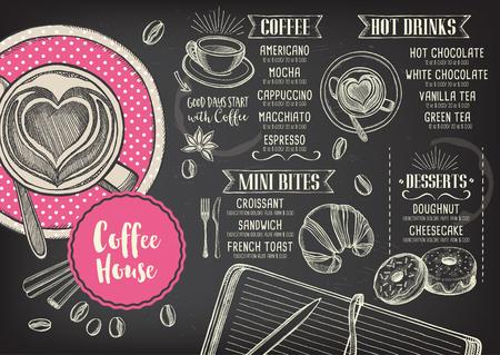 capuchino: restaurante café vector de folletos, diseño de menú de cafetería. plantilla de café del vector con el gráfico dibujado a mano. volante de café.