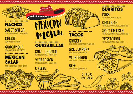 mexican background: Mexican menu placemat food restaurant, menu template design. Vintage creative dinner brochure with hand-drawn graphic. Vector food menu flyer.