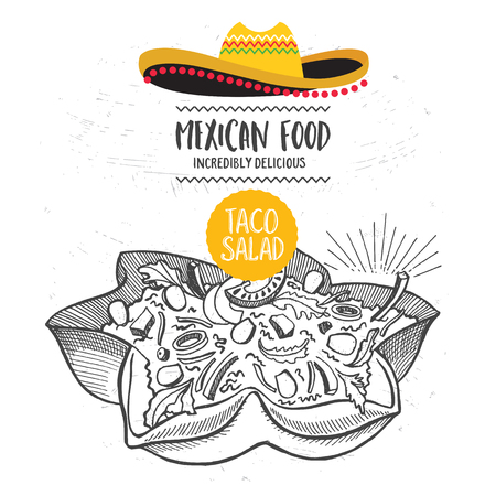 mexican party: Mexican menu placemat food restaurant, menu template design. Vintage creative dinner brochure with hand-drawn graphic. Vector food menu flyer.