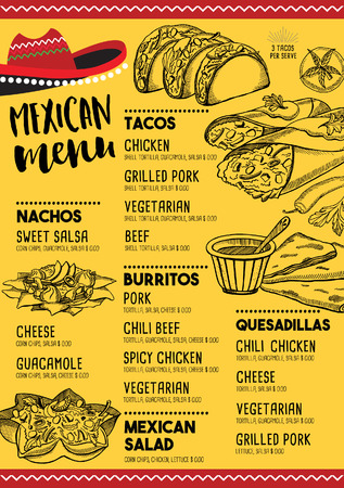 Mexican menu placemat food restaurant, menu template design. Vintage creative dinner brochure with hand-drawn graphic. Vector food menu flyer.
