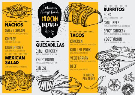 tortilla de maiz: Restaurante de comida mexicana menú mantel, diseño de plantilla de menú. cena folleto creativo de la vendimia con el gráfico dibujado a mano. Vector menú de comida volante.