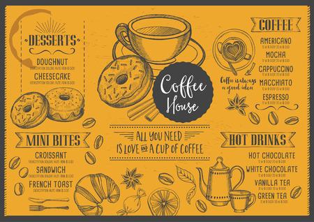 Coffee menu placemat food restaurant brochure, coffee shop template design. Vintage creative dinner template with hand-drawn graphic. Vector coffee menu flyer. Gourmet menu board.