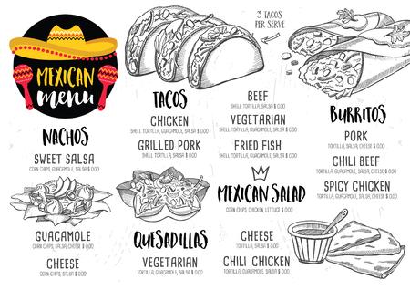 Restaurante de comida mexicana menú mantel, diseño de plantilla de menú. cena folleto creativo de la vendimia con el gráfico dibujado a mano. Vector menú de comida volante.