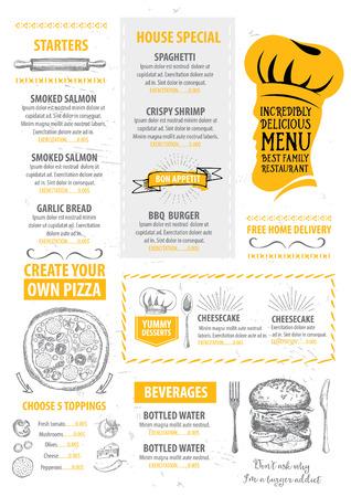 dinner menu: Menu placemat food restaurant brochure, menu template design. Vintage creative dinner template with hand-drawn graphic. Vector food menu flyer. Gourmet menu board.