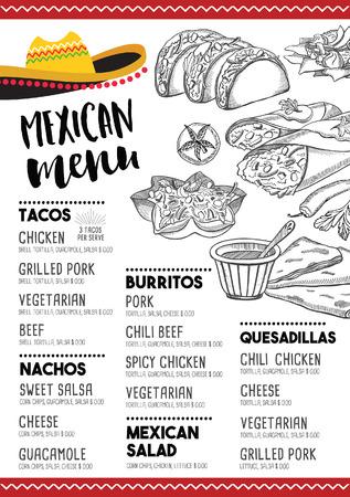 Mexican menu placemat food restaurant, menu template design. Vintage creative dinner brochure with hand-drawn graphic. Vector food menu flyer.