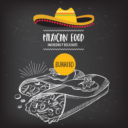 burrito: Mexican menu placemat food restaurant, menu template design. Vintage creative dinner brochure with hand-drawn graphic. Vector food menu flyer.