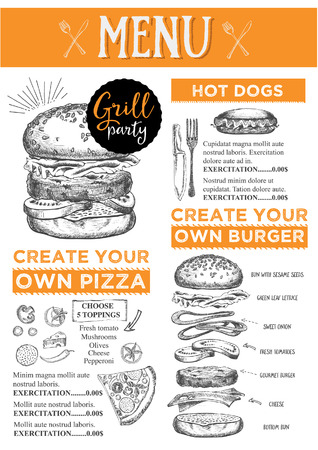 placemat: Menu placemat food restaurant brochure, menu template design. Vintage creative dinner template with hand-drawn graphic. Vector food menu flyer.