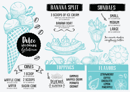 split: Ice cream menu placemat food restaurant brochure, dessert template design. Vintage creative sweet template with hand-drawn graphic. Vector food menu flyer.