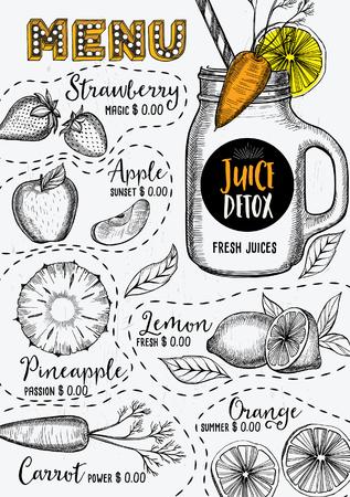 bebida: menu de suco de bebida placemat restaurante folheto, design sobremesa template. template bebida criativa vintage com o gráfico desenhado à mão. Vector menu de comida flyer. Ilustração
