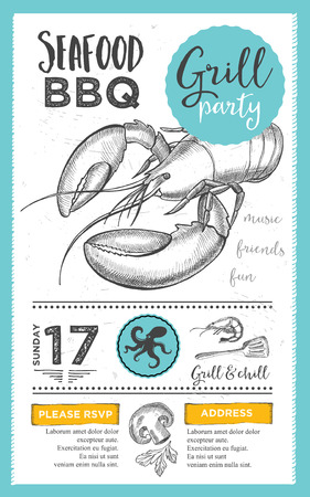 placemat: Barbecue menu placemat food restaurant brochure, bbq template design. Vintage creative dinner invitation with hand-drawn graphic. Vector food menu flyer.