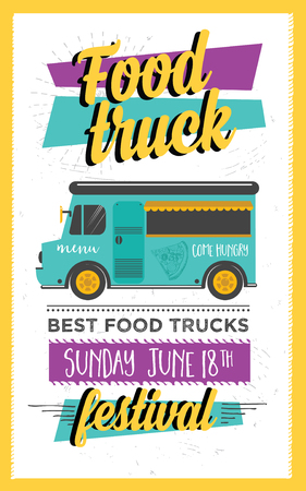 Food truck festival menu brochure, street food template design. Vintage creative party invitation with hand-drawn graphic. Vector food menu flyer. Hipster menu board.