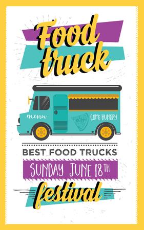 Food truck festival menu brochure, street food template design. Vintage creative party invitation with hand-drawn graphic. Vector food menu flyer. Hipster menu board.