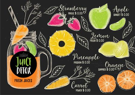 Juice Menü Platzdeckchen Getränk Restaurant Broschüre, Dessert Template-Design. Jahrgang kreative Getränke Vorlage mit handgezeichneten Grafik. Vector-Food-Menü Flyer.