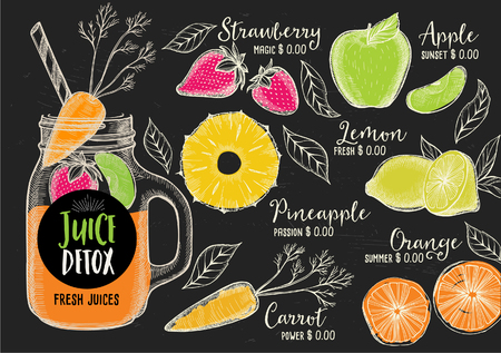 Juice menu placemat drink restaurant brochure, dessert template design. Vintage creative beverage template with hand-drawn graphic. Vector food menu flyer.