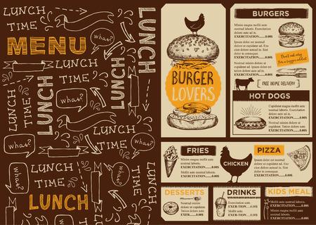Menu placemat food restaurant brochure, menu template design. Vintage creative dinner template with hand-drawn graphic. Vector food menu flyer.