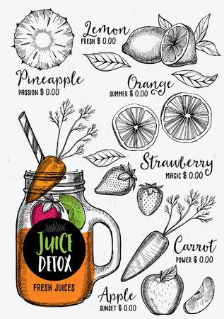 placemat: Juice menu placemat drink restaurant brochure, dessert template design. Vintage creative beverage template with hand-drawn graphic. Vector food menu flyer.