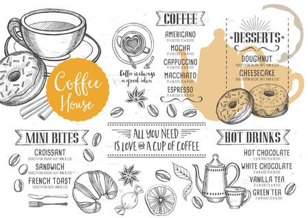 コーヒー レストラン パンフレット ベクトル、コーヒー ショップのメニューのデザイン。手描きのグラフィックを持つベクトル カフェ テンプレー  イラスト・ベクター素材