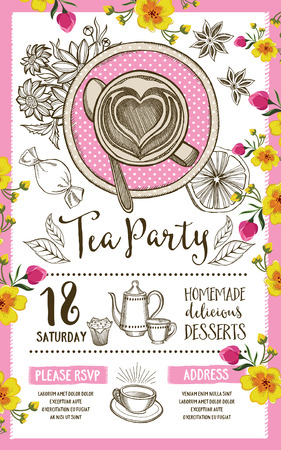 dinner party: Tea party invitation, template design. Vintage creative dinner invitation with hand-drawn graphic. Vector food menu flyer.