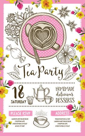 Tea party uitnodiging, sjabloon ontwerp. Vintage creatieve uitnodiging van het diner met de hand getekende afbeelding. Vector menu eten flyer. Stock Illustratie