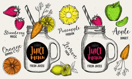 Juice menu placemat drink restaurant brochure, dessert template design. Vintage creative beverage template with hand-drawn graphic. Vector food menu flyer.