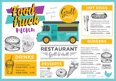 Food truck festival menu brochure, street food template design. Vintage creative party invitation with hand-drawn graphic. Vector food menu flyer. Hipster menu board. Zdjęcie Seryjne - 59490176