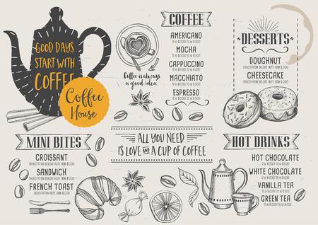 Kaffee Restaurant Broschüre Vektor, Coffee-Shop-Menü-Design. Vector ...