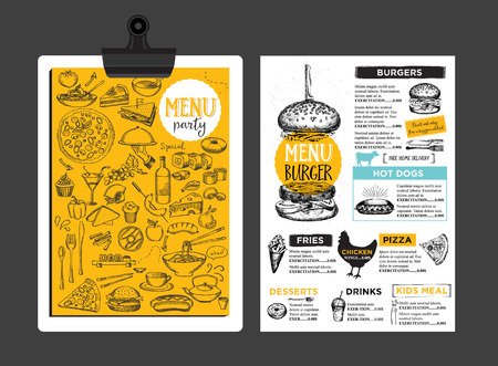 dinner menu: Menu placement food restaurant brochure, menu template design. Vintage creative dinner template with hand-drawn graphic.