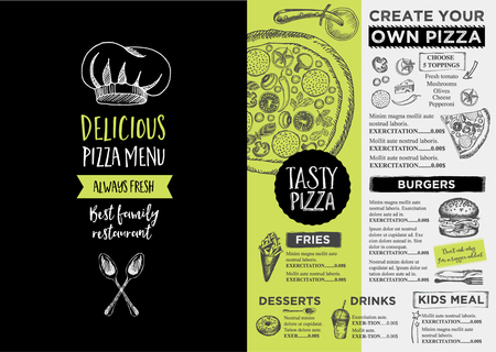 Menu place mat food restaurant brochure, menu template design. Vintage creative dinner template with hand-drawn graphic.