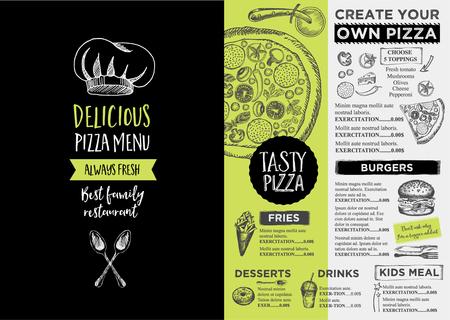 Menu place mat food restaurant brochure, menu template design. Vintage creative dinner template with hand-drawn graphic.