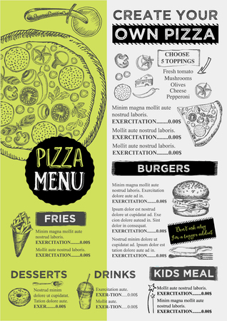 Menu placement food restaurant brochure, menu template design. Vintage creative dinner template with hand-drawn graphic.