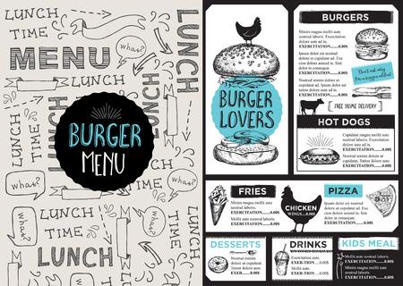 placemat: Menu placemat food restaurant brochure, template design.