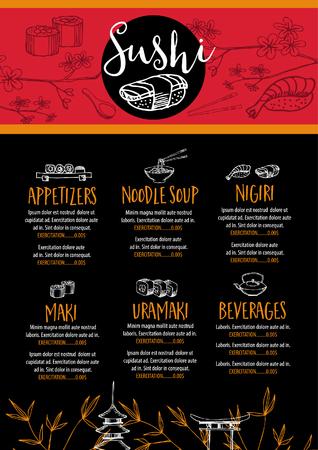 menú de sushi restaurante de comida mantel folleto, plantilla de marisco. Plantilla de la vendimia con la cena creativa gráfico dibujado a mano.