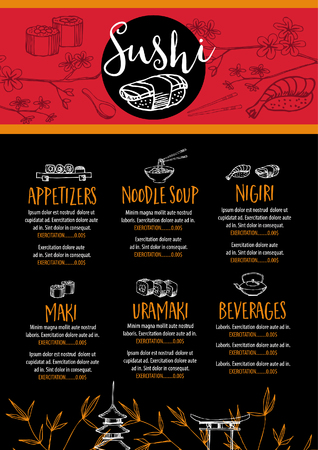 placemat: Sushi menu placemat food restaurant brochure, seafood template. Vintage creative dinner template with hand-drawn graphic.