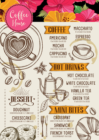 beverage menu: Coffee restaurant brochure, beverage menu design. Tea vintage board. Vector cafe template with hand-drawn graphic.