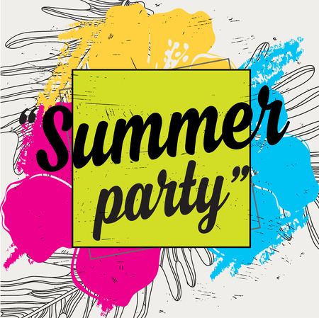 holiday party: Summer party poster with quote. Holiday background with tropical flowers.