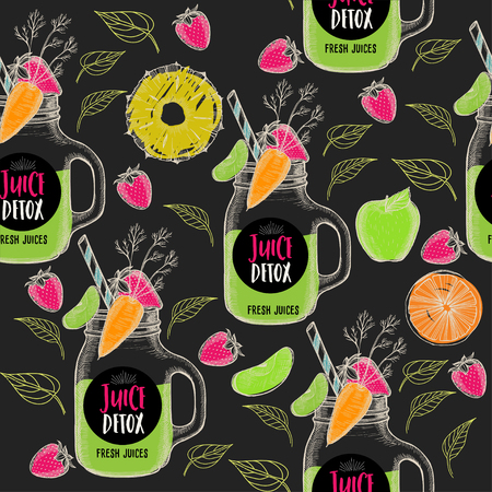 placemat: Juice seamless pattern background. Fruits hand-drawing elements. Graphic texture for restaurant template menu.