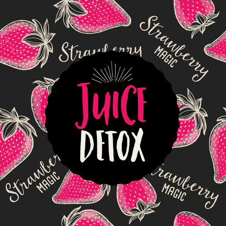 drink food: Juice poster for restaurant brochure, organic beverage template design. Vintage creative banner with hand-drawn graphic.