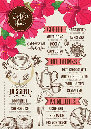 Coffee restaurant brochure, beverage menu design. Tea vintage board. Vector cafe template with hand-drawn graphic.