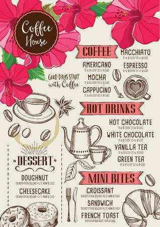 bebida: Café restaurante folheto, design menu de bebidas. placa de chá do vintage. Vector cafe modelo com gráfico desenhado à mão.
