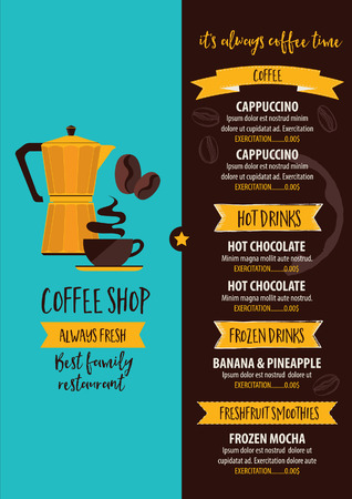 Coffee restaurant brochure, beverage menu design. Tea vintage board. Vector cafe template with hand-drawn graphic.