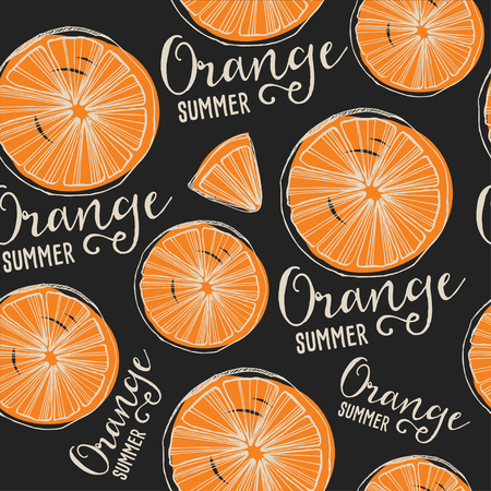 background orange: Orange seamless pattern background. Food texture with hand-drawing fruits. Graphic print for restaurant template.