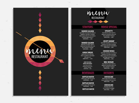 Menu Placemat Food Restaurant Brochure Template Design Vintage