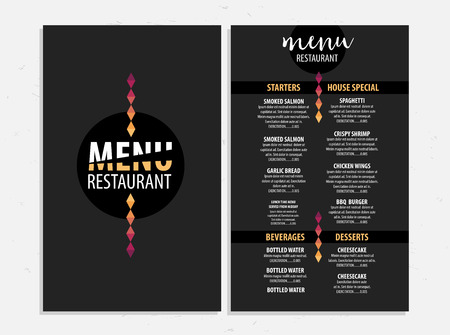 Menu placemat food restaurant brochure, template design. Vintage creative dinner board flyer with hand-drawn graphic.