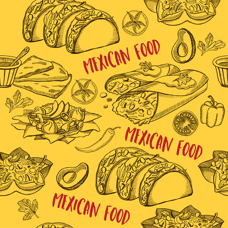Mexican seamless pattern background. Food design icons hand-drawing elements. Graphic texture for restaurant template.