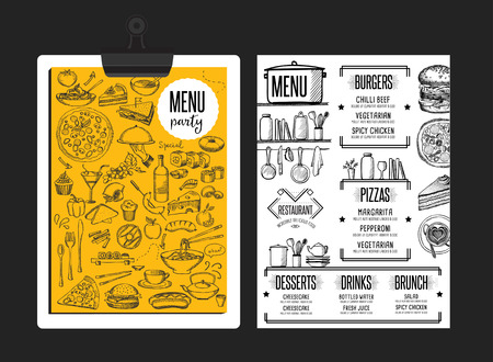 placemat: Restaurant menu placemat food brochure, cafe template design. Vintage creative dinner flyer with hand-drawn graphic.